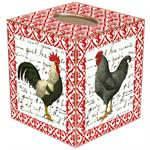 TB557-Rooster on Red  French Print Tissue Box Cover