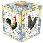 TB558-Rooster on Blue and Yellow Toile Tissue Box Cover