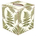 TB589-Ferns on Creme Tissue Box Cover