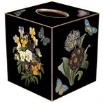 TB5-Black Pansies and Primrose Tissue Box Cover