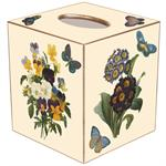 TB5-Ivory-Pansies, Primrose & Johnny Jump-Ups Tissue Box Cover