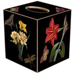 TB6-Black Rose & Iris Tissue Box Cover