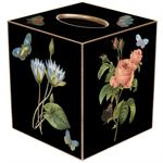 TB7-Black-Pink Roses, Pink Hydrangea, Blue Irises Tissue Box Cover