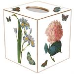TB7-White-Pink Roses, Pink Hydrangea, Blue Irises Tissue Box Cover