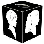TB8075-White Silhouette on Black Tissue Box Cover