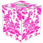 TB8391 - Chinoiserie Pagoda in Pink Tissue Box Cover