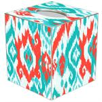 TB8414 - Coral and Turquoise Ikat Tissue Box Cover