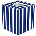 TB8416 - Navy Stripe with Orange Monogram  Tissue Box Cover