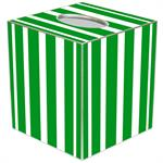TB8418 - Green Stripe with Navy Monogram  Tissue Box Cover