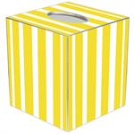 TB8419 - Yellow Stripe with Navy Monogram  Tissue Box Cover