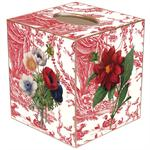 TB842-Red Flowers on Red Toile Tissue Box Cover