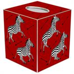 TB8490- Zebra Trot on Red Tissue Box Cover