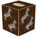TB8492-Zebra Trot on Brown Tissue Box Cover