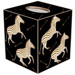 TB8493- Gold Zebra Trot on Black Tissue Box Cover