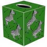 TB8494-Zebra Trot on Green Tissue Box Cover