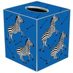 TB8495-Zebra Trot on Blue Tissue Box Cover