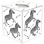 TB8496- Zebra Trot on White Tissue Box Cover