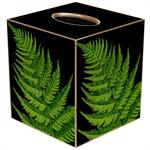 TB8638-Ferns on Black Tissue Box Cover