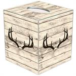 TB8766- Deer Horns on Butternut Wood Tissue Box Cover
