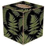 TB882-Ferns on Black Tissue Box Cover