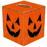 Tissue box cover with fuzzy look of orange jack o lantern
