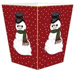 WB1244 - Snowman on Red Tiny Polka Dot Wastepaper Basket