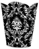 WB1275 - White on Black  Damask Wastepaper Basket