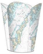 WB1490 - Fishers Island Nautical Chart Wastepaper Basket