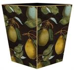 WB1549- Pears on Antique Brown Wastepaper Basket
