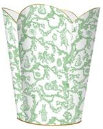 WB1758-Green Bunny Toile Wastepaper basket