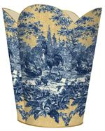 WB17- Blue and Gold Rooster Toile Wastepaper Basket