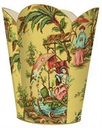 WB223-Yellow Chinoiserie Wastepaper Basket