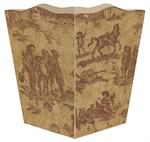 WB225- Brown Horse Toile Wastepaper Basket