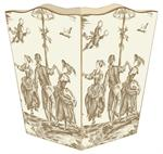 WB228- Taupe and Creme Toile Wastepaper Basket