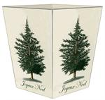 WB2527 - Antique Christmas Tree Winter White Wastepaper Basket