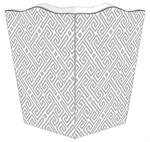 WB2654 - Grey & White Fret Pattern Wastepaper Basket