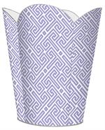 WB2657 - Lavender & White Fret Pattern Wastepaper Basket