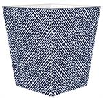 WB2659-Navy Fret Pattern Wastepaper Basket