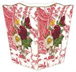 WB278-Four flowers on Red Toile Wastepaper Basket
