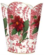 WB279-Red Flower on Red Toile Wastepaper Basket