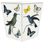 WB2801-Blue Bird & Buterflies Wastepaper Basket