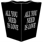 WB2836 - All You Need Is Love Black Wastepaper Basket