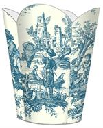 WB28-Country Life Blue Toile Wastepaper Basket