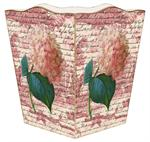 WB295-Pink Hydrangea on Rose Toile Wastepaper Basket
