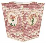 WB296-Pink Lillies on a Rose Toile Wastepaper Basket