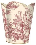 WB29-Red and Creme Country Life Toile Wastepaper Basket