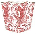WB319-Red Toile Wastepaper Basket