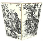 WB32-Black and White Toile Wastepaper Basket