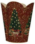WB389-Christmas Tree on Red Damask