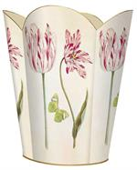 WB422 Tulips and Butterflies Tin Wastepaper Basket
